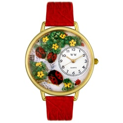 Whimsical Women's Ladybugs Theme Red Leather Strap Watch