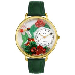 Whimsical Women's Hummingbirds-Theme Stainless-Steel Green Leather Watch