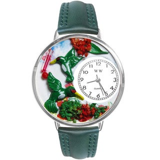 Whimsical Women's Hummingbirds Theme Green Leather Watch