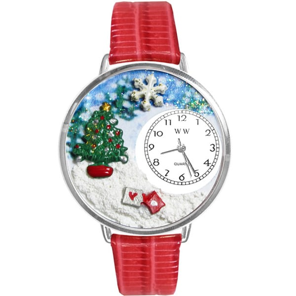 Whimsical Women's Christmas Tree Theme Red Leather Strap Watch