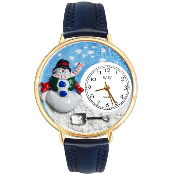 Whimsical Women's Goldtone Christmas Snowman-Theme Navy Blue Leather Strap Watch