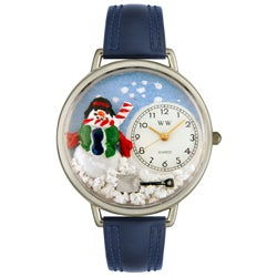 Whimsical Women's Christmas Snowman Theme Navy Blue Leather Strap Watch