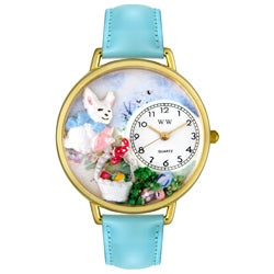 Whimsical Women's Easter Eggs Theme Baby Blue Leather/Goldtone Watch