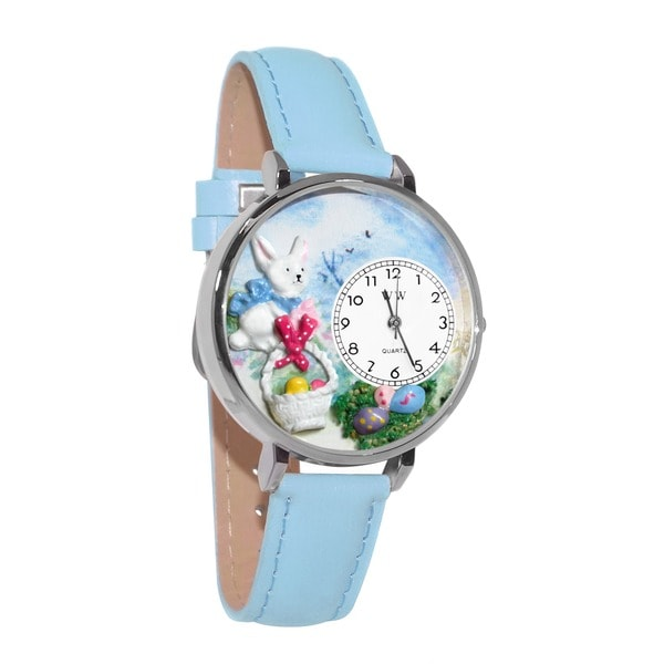 Whimsical Women's Easter Eggs Theme Baby Blue Leather Watch
