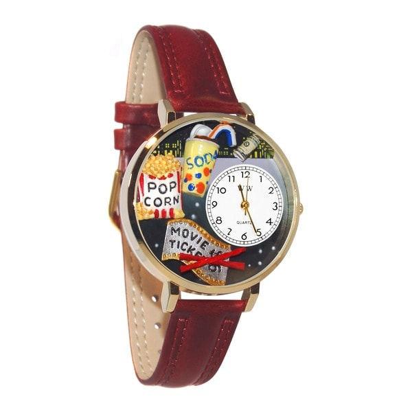 Whimsical Women's Movie Lover Theme Gold Leather Strap Watch 7690943