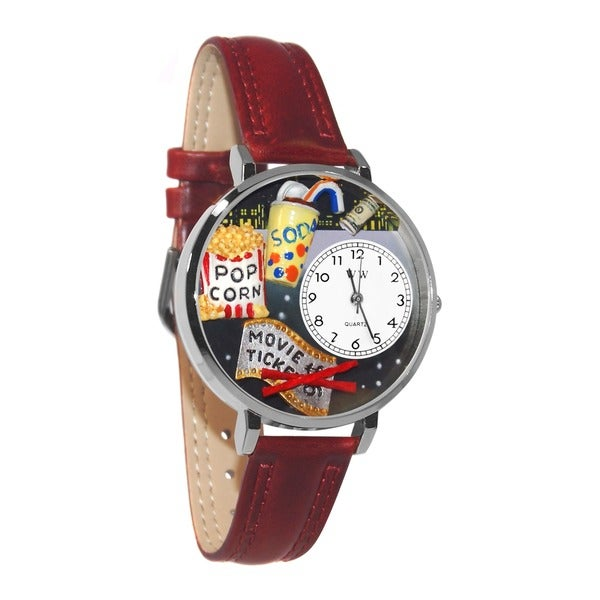 Whimsical Women's Movie Lover Theme Silver Leather Strap Watch 7690944