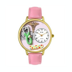 Whimsical Women's Japanese Quartz Nurse 2 Theme Pink Leather Strap Watch