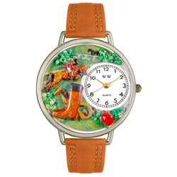 Whimsical Women's White-Dial Horse Competition-Theme Tan Leather Watch