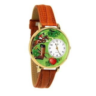 Whimsical Women's Horse Competition Theme Tan Leather Watch