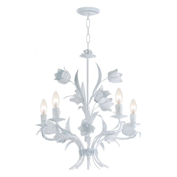 Southport 5-light White Floral Chandelier