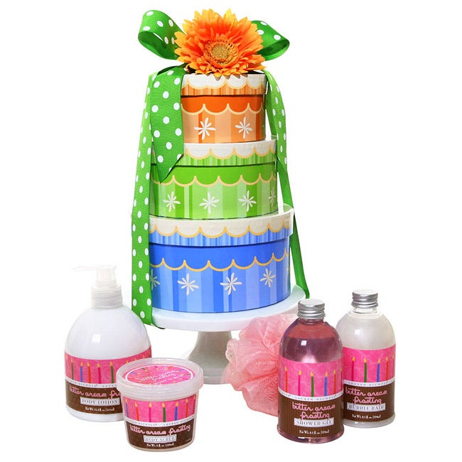 Six-piece Happy Birthday Spa Wishes Gift Set in Multicolor Round Box