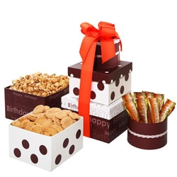 Happy Birthday Treats Tower with Decorative Gift Boxes and Ribbon