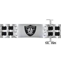 Stainless Steel Oakland Raiders Logo Bracelet