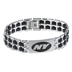 Stainless Steel New York Jets Logo Bracelet