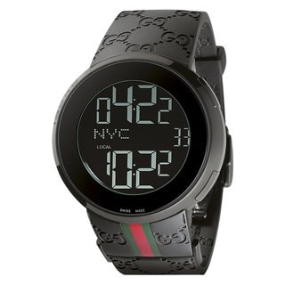 Gucci Men's Digital Black Rubber Black Dial Watch