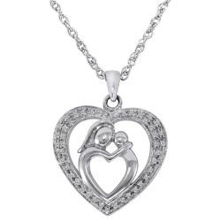 Sterling Silver 1/7ct TDW Diamond Mother and Child Heart Necklace (H-I, I2-I3)