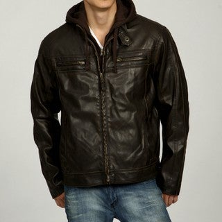 Columbia Men's Hooded Sherpa Lined Faux-Leather Jacket