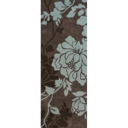 nuLOOM Handmade Pino Yarrow Brown/ BlueFloral Rug (2'6 x 8 Runner)