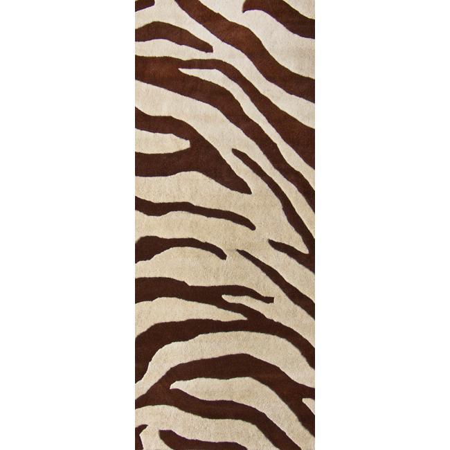 NuLOOM Handmade Modern Zebra Brown/ Beige Wool Rug (2'6 X