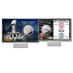 Super Bowl XLV Silver Flip Coin Card and Protective Case