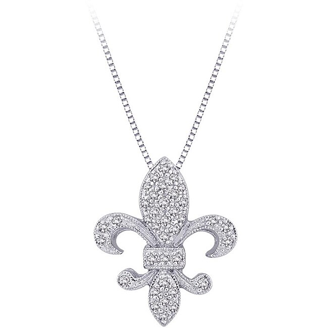 10k White Gold 1/6ct TDW Diamond Fleur de Lis Necklace (G-H, I2-I3)