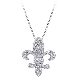 10k White Gold 1/6ct TDW Diamond Fleur de Lis Necklace (G-H, I2-I3)