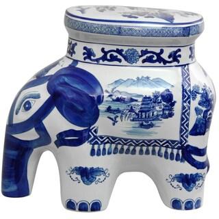 Porcelain 14-inch Blue and White Elephant Landscape Stool (China)