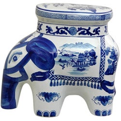 Porcelain 14-inch Blue and White Elephant Landscape Stool (China)