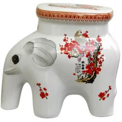 Porcelain 14-inch Cherry Blossom Elephant Stool (China)