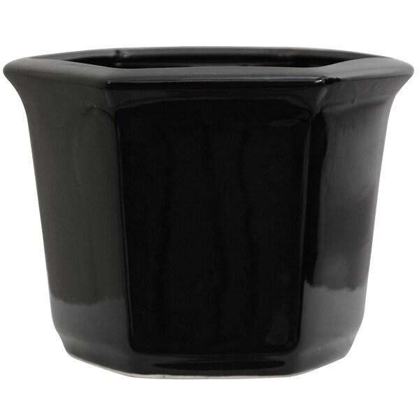 Porcelain 10-inch Solid Black Flower Pot (China)