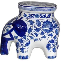 Porcelain 14-inch Blue and White Elephant Floral Stool (China)