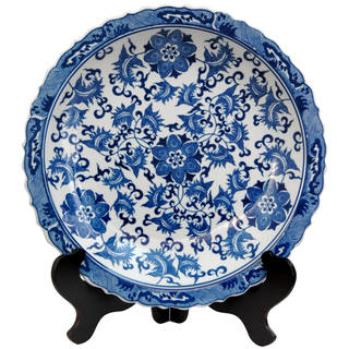 """Handmade 14"""" Blue and White Floral Porcelain Plate - 2""""H x 14"""" Diameter"""