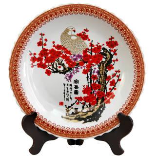"Handmade 14"" Porcelain Cherry Blossom Plate"