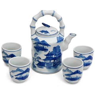 Handmade Porcelain Blue and White Landscape Tea Set (China)