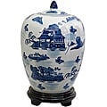 Porcelain 12-inch Blue and White Landscape Vase Jar (China)