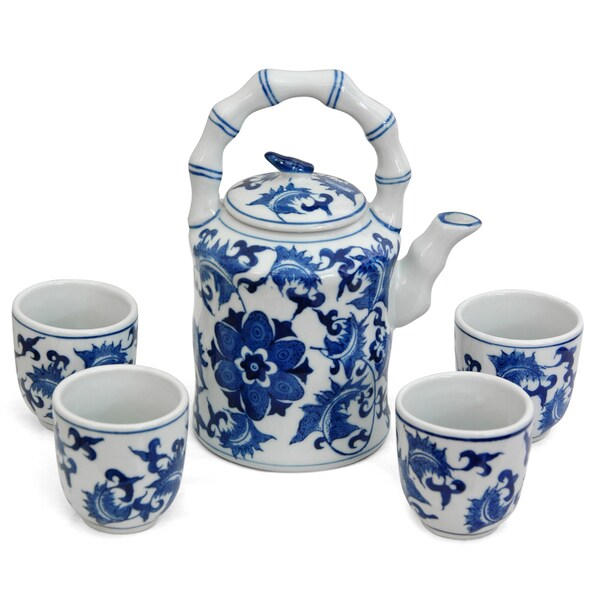 Handmade Porcelain Blue and White Floral Tea Set (China) 7694344