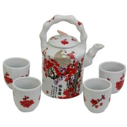 Porcelain Red and White Cherry Blossom Tea Set (China)
