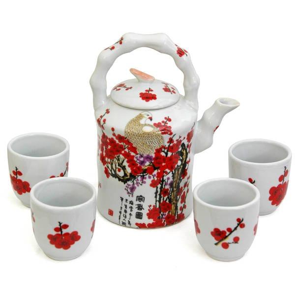 Handmade Porcelain Red and White Cherry Blossom Tea Set (China) 7694345