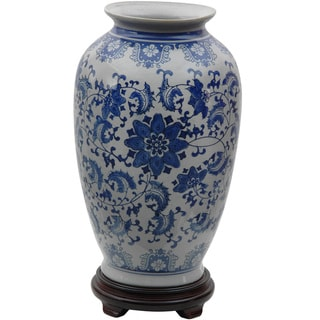 Porcelain 14-inch Blue and White Floral Tung Chi Vase (China)