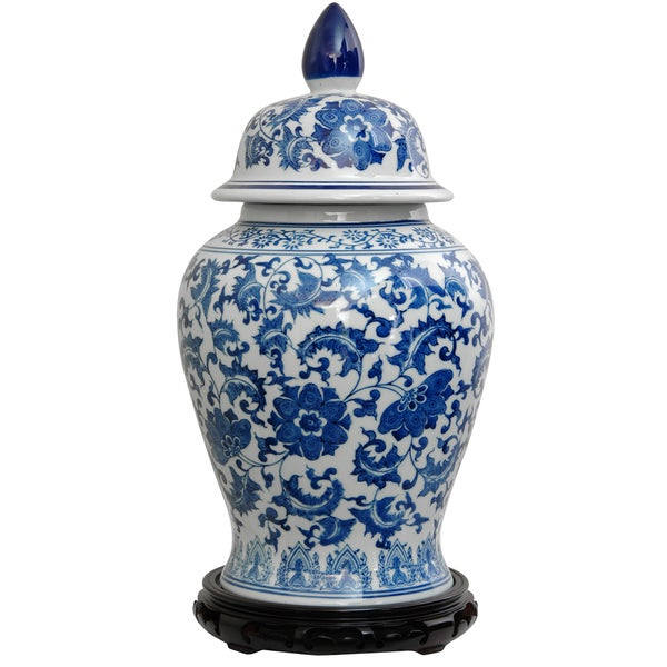 Porcelain 18 Inch Blue And White Floral Temple Jar China