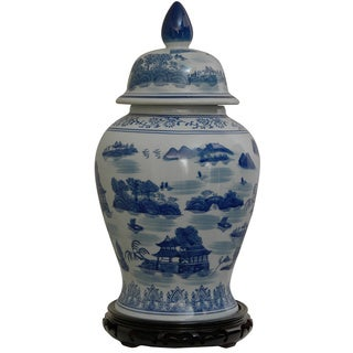 Porcelain 18-inch Blue and White Landscape Temple Jar (China)