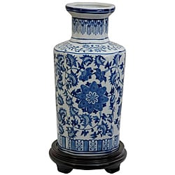 Porcelain 12-inch High Blue and White Floral Vase (China)
