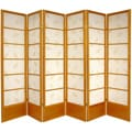 Wooden 6-foot 6-panel Botanic Shoji Screen (China)