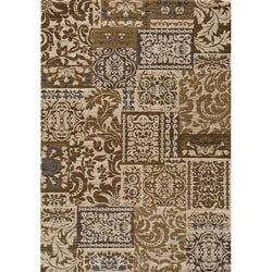 Dream Ivory Damask Blocks Geometric Rug (7'10 x 9'10)