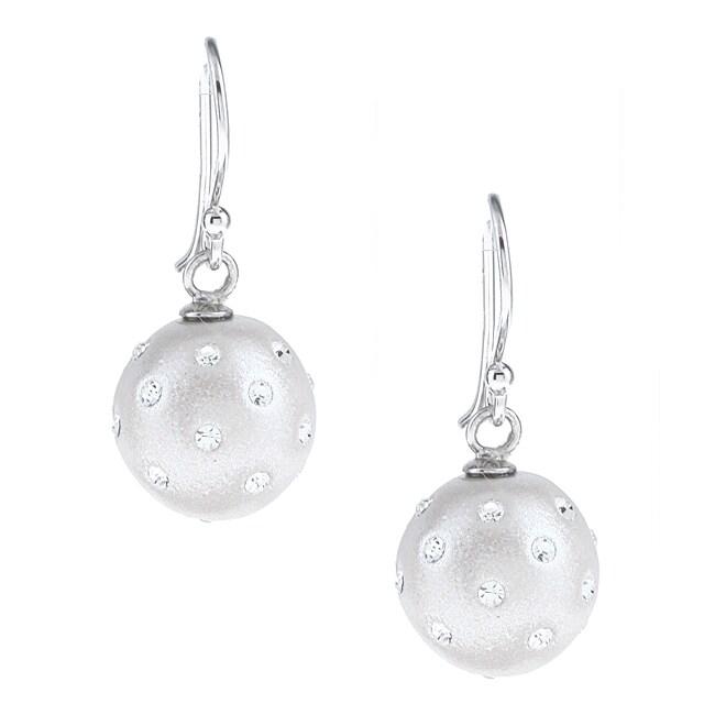 La Preciosa Sterling Silver and Silver Enamel Crystal Circle Earrings