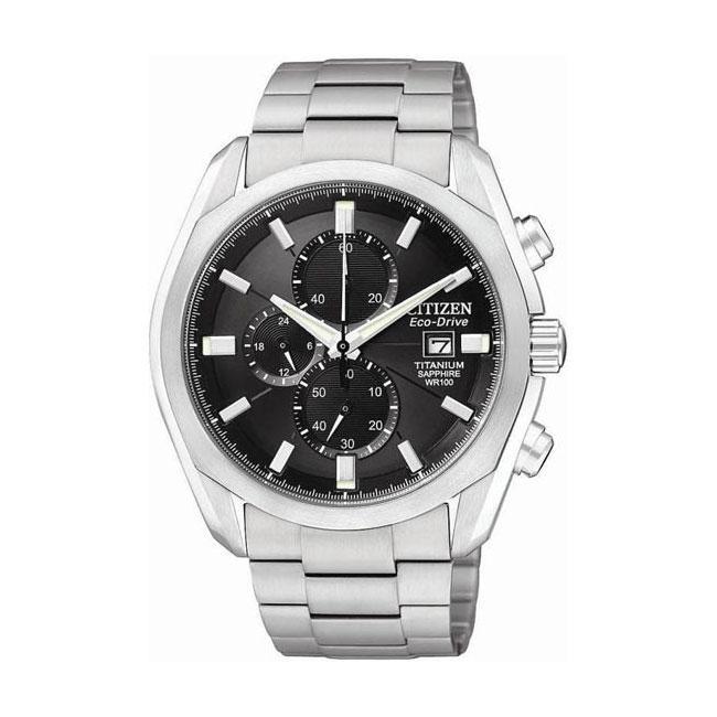 Citizen Eco-Drive Men's Titanium Chronograph Black Dial Watch