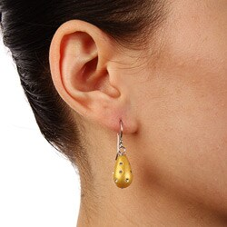 La Preciosa Sterling Silver and Gold Enamel Crystal Teardrop Earrings