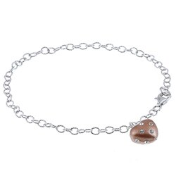 La Preciosa Sterling Silver and Bronze Enamel Crystal Heart Bracelet