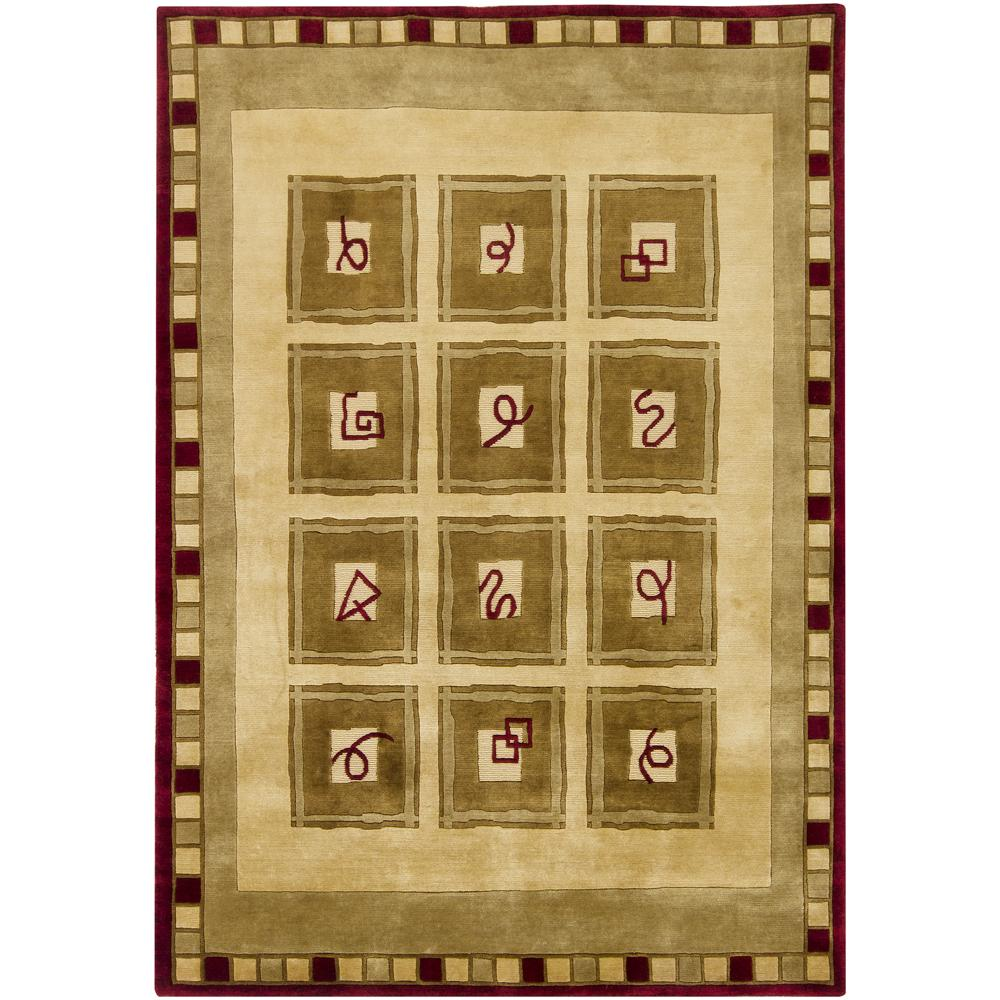 "Hand-Knotted Mandara Geometric Gold New Zealand Wool Area Rug (5'7"" x 7'9"")"