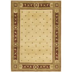 Hand-knotted Mandara Red Border New Zealand Wool Rug (5' x 7'6)